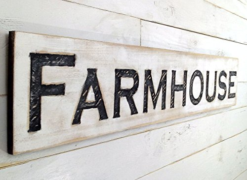 - Americana Signs Large Farmhouse Sign 48x10 Carved Horizontal-Cypress Lumber Rustic Wood Distressed Shabby Style Decor