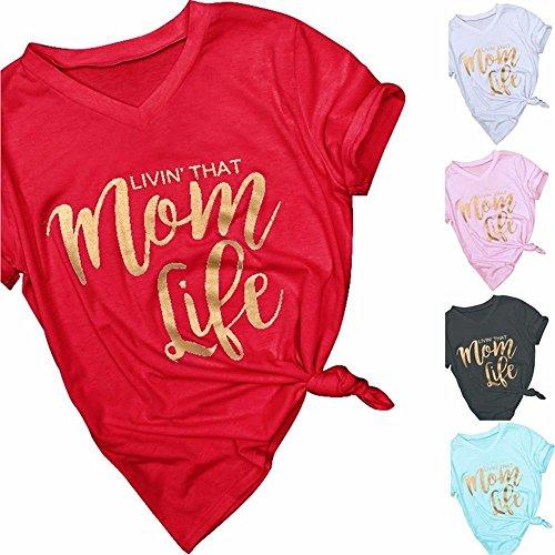 Fashion Women T-Shirt Mom Life Print V-Neck T-Shirt Summer Casual Ladies Tops Mothers Day