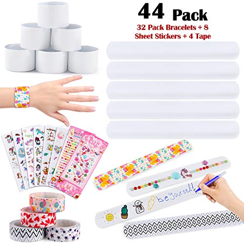 Diy Slap Bracelets (Golray 44 Pcs Slap Bracelets Party Favors Bulk White Snap Bracelet Band DIY Toys Kids Party Favors Craft Toy for Boys Girls Birthday Classroom)