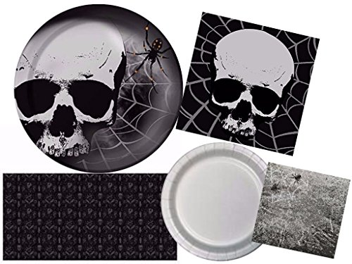 Halloween Skull Terror Fright Night Deluxe Party Tableware Kit for 24 Guests (109 (109 Halloween)
