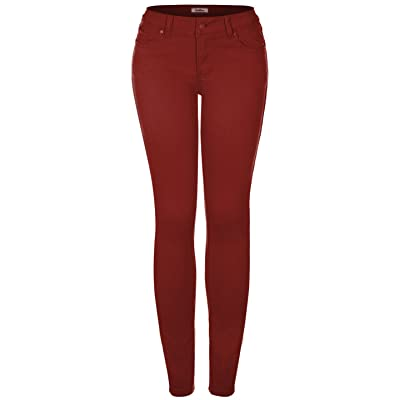 2LUV Women's Colored 5 Pocket Skinny Pants at Women's Clothing store