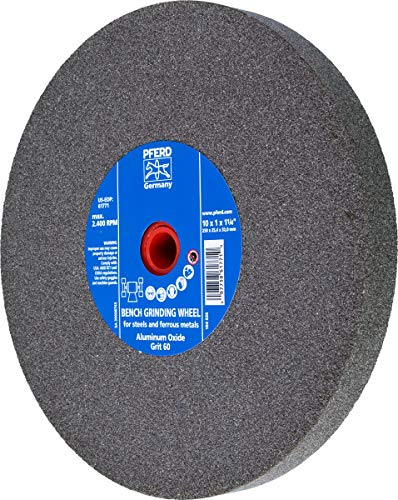 PFERD 61771 Bench Grinding Wheel, Aluminum Oxide, 10'' Diameter, 1'' Thick, 1-1/4'' Arbor Hole, 60 Grit, 2485 Maximum RPM by Pferd