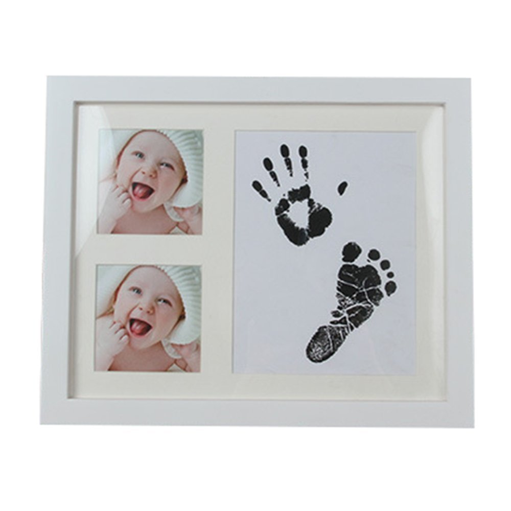 Precious Baby Handprint + Footprint Photo Frame, Wood Frame with Safe Clay, Personalized Keepsake Gift (White-4) JX First wave