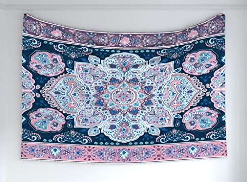 - Ambesonne Mandala Tapestry, Eastern Paisley Pattern Henna Karma Hidden Universe Theme Arabesque Floral Print, Fabric Wall Hanging Decor Bedroom Living Room Dorm, 60 W X 40 L Inches, Purple Blue