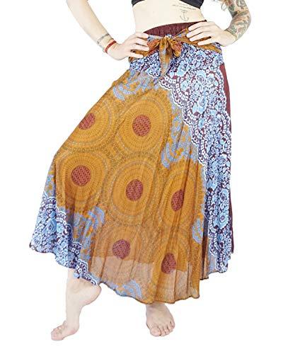 Boho Vib Women's Long Bohemian Summer Skirt Dress Plus Size Rose 1 Brown -