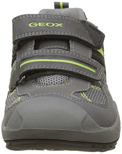 Geox J New Savage Boy a, Zapatillas Para Niños Gris (Dk Grey/lime)