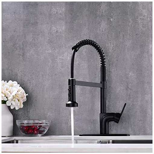 Farmhouse Kitchen UEKPOE Kitchen Faucet with Pull Down Sprayer, Commercial Solid Brass High Arc Spring Single Handle Kitchen Sink Faucet… farmhouse sink faucets
