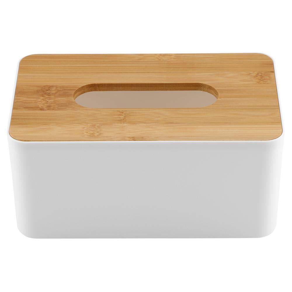 Boîte à Mouchoir, Multifonctionnel Boîtier Distributeur de Tissu en Plastique et en Bois pour la Maison, Le Bureau, la Voiture, etc.(Rectangle) Garsent