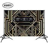 HUAYI 7x5ft Gold black backdrops photo backdrop black baby birthday banner cartoon photography backdrop for happy birthday celebration W-328