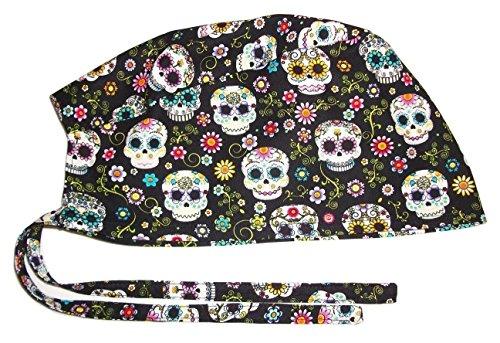 Onebasispoint Scrub Hat Skulls Flowers Cotton Fabric Nurse Cap Doctor ER Do-Rag Skull