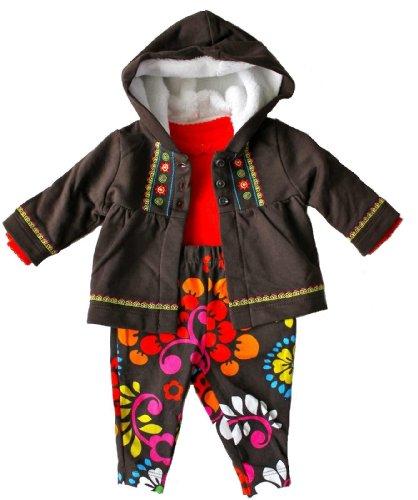 Carter's Baby Girls Jacket Bodysuit and Leggings Set 12 Months Brown Floral