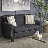 Great Deal Furniture Jasmine Traditional Dark Grey Fabric Loveseat
