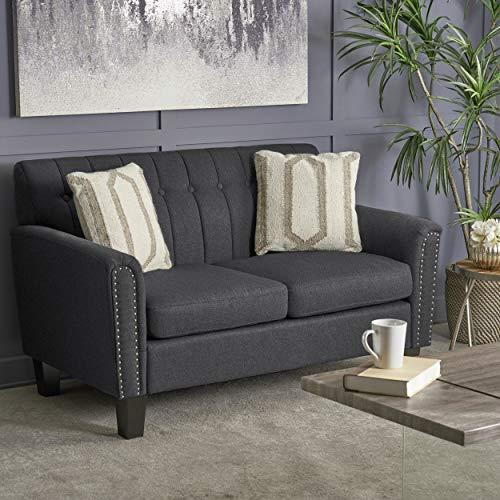 Great Deal Furniture 303938 Jasmine Traditional Dark Grey Fabric Loveseat, Brown