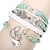 Real Spark(TM) Womens Girl Blue White Braided Leather Wrap Double Link Owl Bird Leaf Infinity...