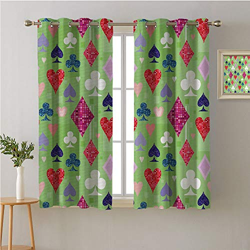 (Jinguizi Casino Fabric The Yard Grommets Bedroom/Living,Vibrant Colored Different Icons Symbols of Playing Cards Poker Gamble Club Casino,Bedroom Darkening Curtains,72W x 72L)