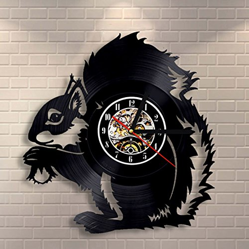 Jedfild The lovely art wall clock 3d small squirrel