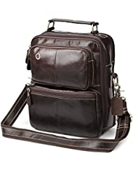 Zicac Mens Genuine Leather Shoulder Handbag Cross Body Messenger Bag (Coffee)