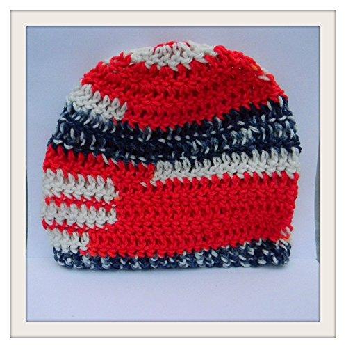 Amazoncom Crochet Skull Cap Americana Redwhitblue Beanie Handmade