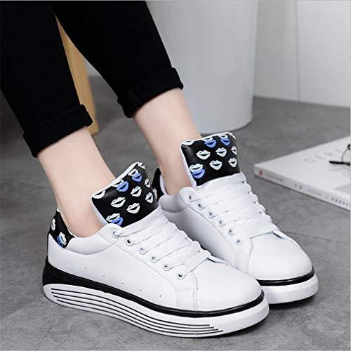 Schuhe Casual Schuhe Mikrofaser Lace up Exing Womens Sneakers Academy Schuhe weiße Deck Kleine Leder C Damen 5wXwO