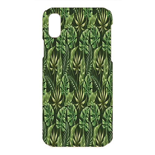 Phone Case Compatible 3D Printed 2018 Apple iPhone Xs MAX DIY Fashion Picture,Hawaiian Summer Tropic Theme Decorative,Dark,Lovely Personalized Hard Plastic Phone Case Fashion Stylish ()
