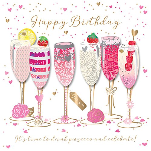 Happy Birthday Prosecco Handmade Embellished Greeting Card By Talking Pictures Cards Buy Online In Sweden At Sweden Desertcart Com Productid 109401273