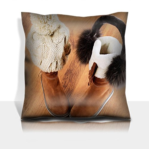 Luxlady Throw Pillowcase Polyester Satin Comfortable Decorative Soft Pillow Covers Protector sofa 16x16, 1 pack IMAGE ID: 34389622 winter boots hat and fur headphones on the floor horizontal f
