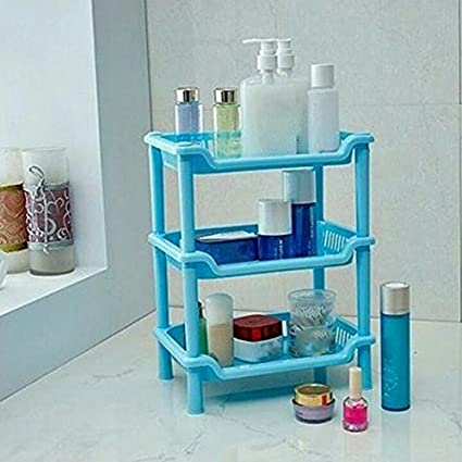 Getko Plastic Small Storage Shelves Plastic Basket Square Three Layers Desk  Stand Rack Bathroom Shelves For