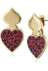 """Betsey Johnson """"Casino Royale"""" Pave Heart and Spade Front and Back Mismatch Earrings"""