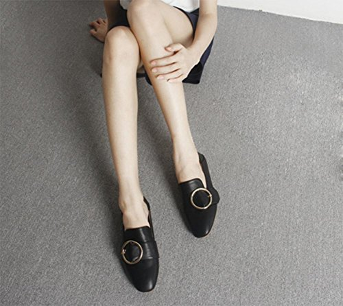 Ms Spring zapatos elevadores de cabeza cuadrada zapatos de hebilla cuadrada zapatos planos casuales zapatos blancos femeninos , US6.5-7 / EU37 / UK4.5-5 / CN37