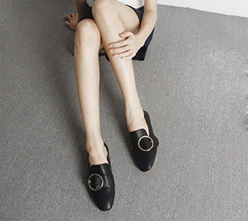 scarpe fibbia quadrata testa quadrata signora primavera scarpe ascensore scarpe basse scarpe casual bianco femmina , US6 / EU36 / UK4 / CN36
