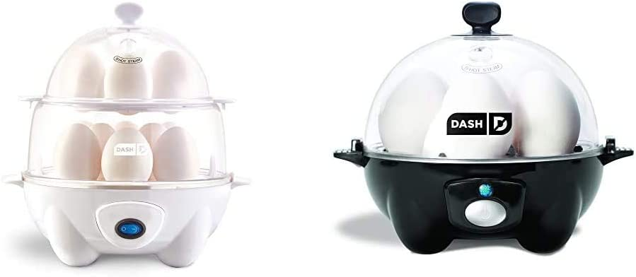 Dash Deluxe Rapid Egg Cooker, White & black Rapid 6 Capacity Electric Cooker for Hard Boiled, Poached, Scrambled Eggs, or Omelets with Auto Shut Off Feature, One Size