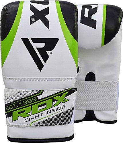 정규품 RDX Maya 하이드 레더 복싱 글로브 펀칭 글로브 격투기 《무에타이》 MMA 연습시합 각색 (화이트/그린)