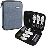 Universal Cable Organizer Bag, Iksnail Small Electronics Accessories Cases, Travel Carrying Pouch For USB Cables, Earphone, Charger, Phone, Charging Cords, SD Card, Hard Drive, Gray