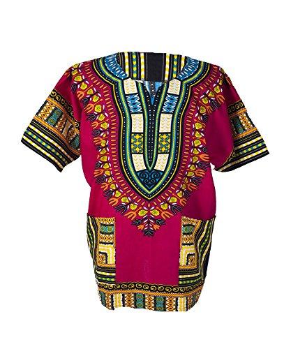 Lofbaz Traditional African Print Unisex Dashiki Size XXXXL Pink by Lofbaz