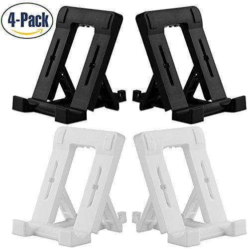 Fynix Cell Phone Stand, 4 Pack Tablet Stand, Universal Multi-Angle Foldable Desktop Holder For Smartphone E-Reader Nintendo Switch, iphone X 8 7 Plus ipad Mini, Samsung Galaxy Google, White & Black