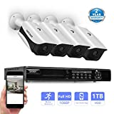 SAFEVANT 8 Channel 1080P AHD Home Security Cameras System W/ 4x HD 2.0MP (1920TVL) Waterproof Night Vision Indoor/Outdoor CCTV Surveillance Camera, 1TB HDD,Free APP,Plug&Play