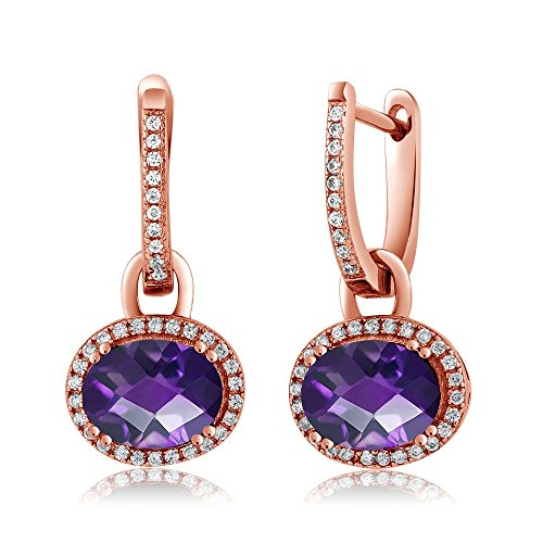Gem Stone King 3.84 Ct Oval Checkerboard Purple Amethyst 18K Rose Gold Plated Silver Earrings