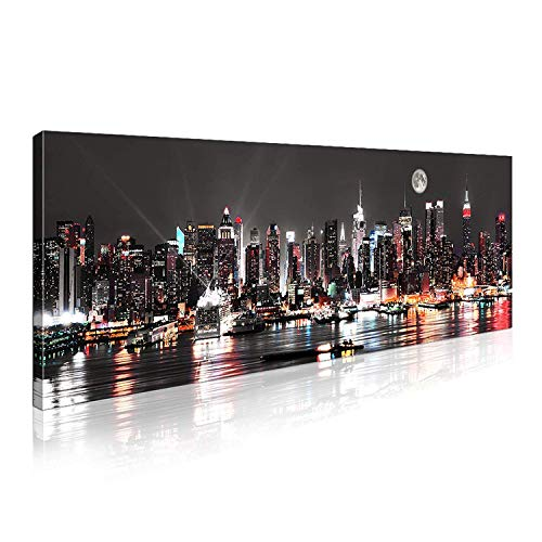 New York City Canvas Wall Art,Manhattan Skyline Panorama on Cloudy Night Picture Giclee Art Print,24