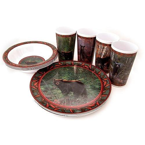 Wild Wings Gift Boxed 12 Piece Melamine Tableware Sets, Bear Series