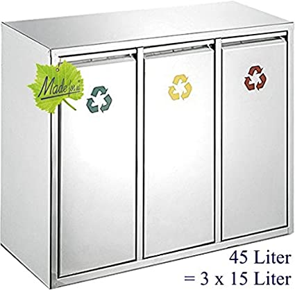 Made for us 45 L Edelstahl Wand-Abfalleimer 3x15 L Mülleimer 3-fach  Mülltrennung 3er Müll-Trennsystem 45 Liter Abfallsammler zur Abfall-Trennung