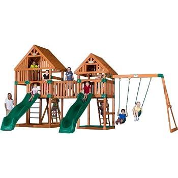 Amazoncom Backyard Discovery Safari All Cedar Wood Playset Swing