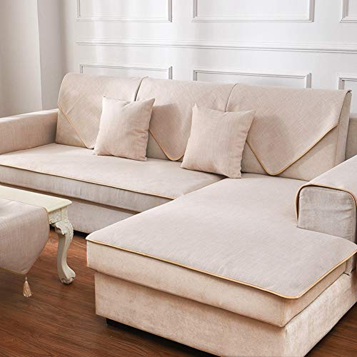 Redsun Cotton Linen Sectional Sofa Cover, Anti-Slip Solid Color Couch Covers Stain Resistant Furniture Protector for Dogs-Apricot ()