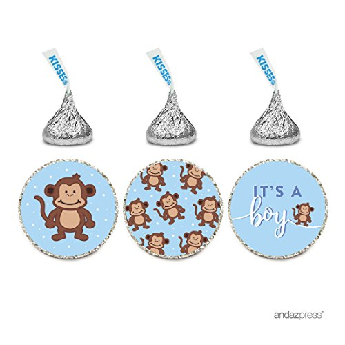 Andaz Press Chocolate Drop Labels Trio, Boy Baby Shower, Sweet Monkey, 216-Pack, Fits Hershey's Kisses Party Favors, Envelope Seals, -