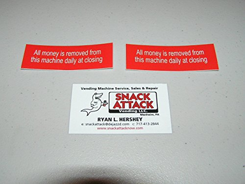 """SNACK or SODA VENDING MACHINE (2)Decals """"All money is removed from this Machine"""""""
