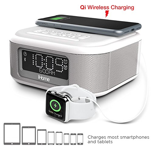 iHome iBTW23 Wireless Charging Bluetooth Alarm Clock with Speakerphone & USB Charging Port For iPhone X 8/8Plus & More- White