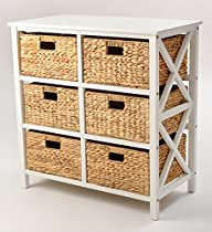 3 Tier X-side Storage Cabinet with 6 Baskets (White)