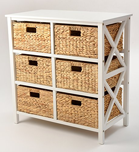 3 Tier X-side Storage Cabinet with 6 Baskets (White) (Console With Baskets Table)