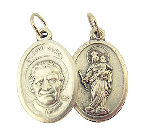 Silver Toned Base Saint John Bosco withOur Lady of Mt Carmel Medal, 1 Inch, Set of 2