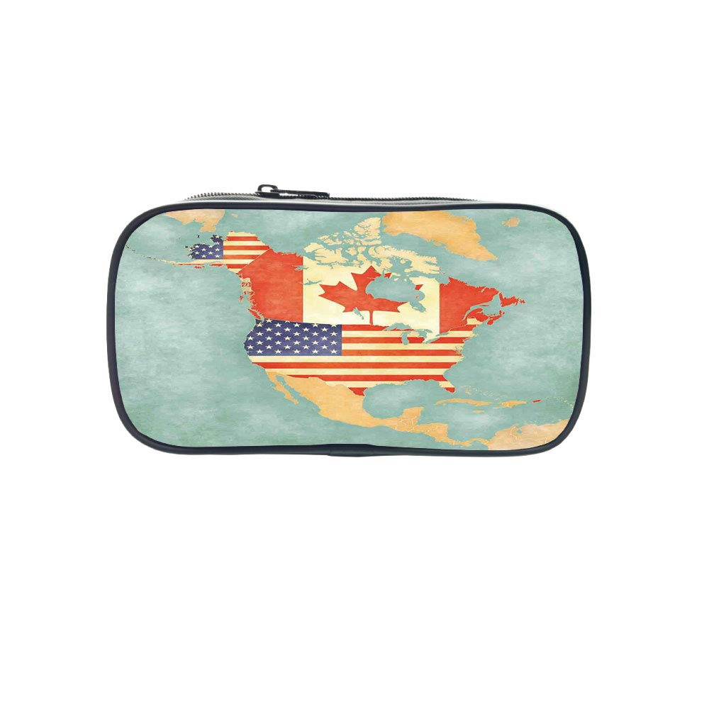 Customizable Pen Bag,Wanderlust Decor,States and Canada Outline Map of The North America in Grunge Stylized Soft Colors,Multi,for Kids,3D Print Design