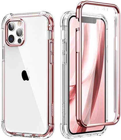 SURITCH Compatible with iPhone 12 Pro Max Clear Case,[Built in Screen Protector] Full Body Protective Shockproof Bumper Rugged Cover for iPhone 12 Pro Max 6.7 Inch(Rose Gold)